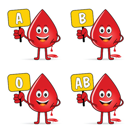 compatibility: blood group icon with drop set illustration in colorful Illustration