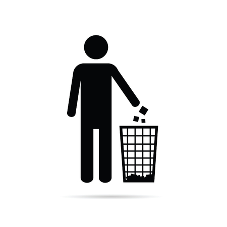 A dispose trash icon with man art illustration.