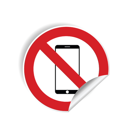 no mobile phone sticker illustration in red color