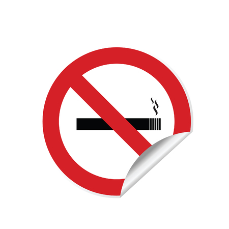 No smoking sign sticker illustration in red color Illustration