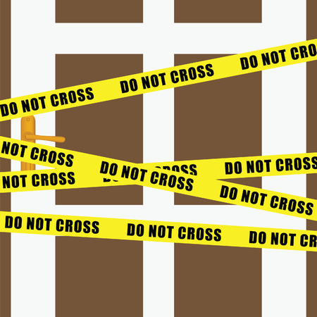 do not cross tape on door art illustration