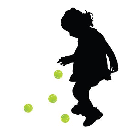 テニスと子シルエット ボール色図  イラスト・ベクター素材