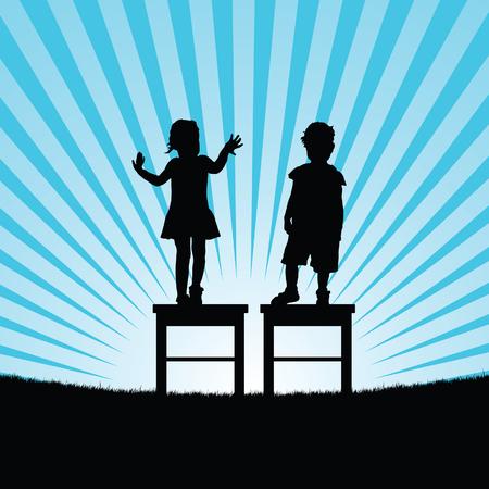 椅子の上の子幸せなシルエット セット アート イラスト  イラスト・ベクター素材