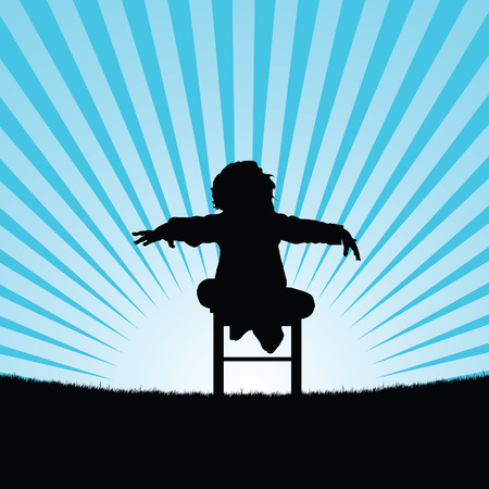 child happy and sweet silhouette in nature art illustration