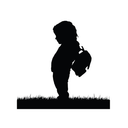 Happy child silhouette with bag art illustration