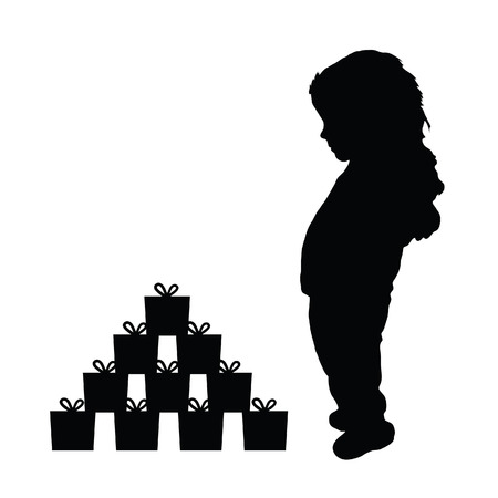 Happy child silhouette with gift box art illustration