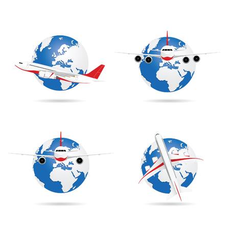 Airplane with globe set illustration