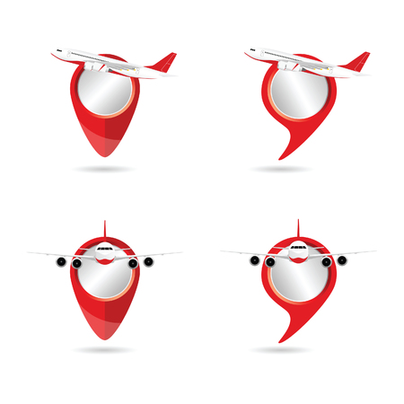 Airplane with pointer set illustration
