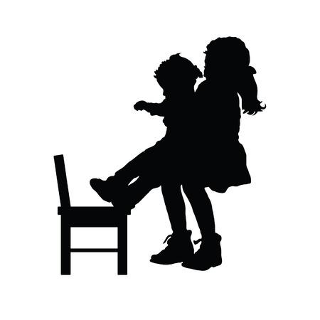 children silhouette with chair illustration in  black Illusztráció
