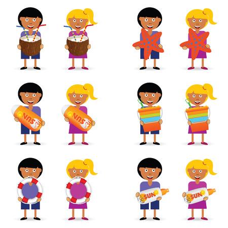 children holding beach stuff illustration in colorful