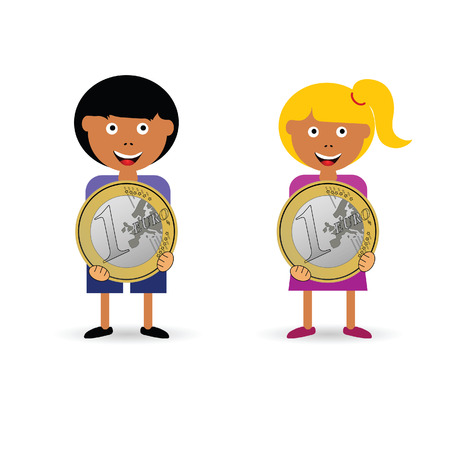 children holding euro coin illustration in colorful
