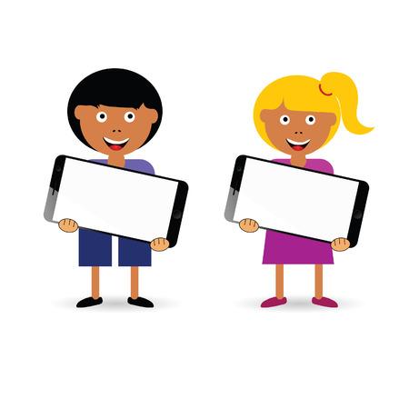 カラフルな携帯電話の図を所持する子供は  イラスト・ベクター素材