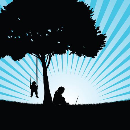 自然アート イラストでツリーの下に座って子供たちのシルエット