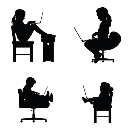 children silhouette sitting on chair with laptop set illustration