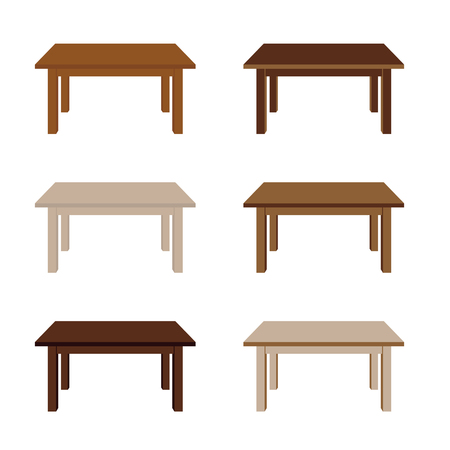 table wooden set illustration in colorful