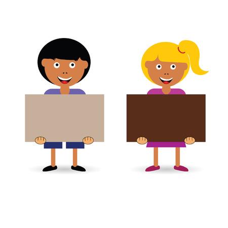 カラフルなイラスト カードを所持する子供は  イラスト・ベクター素材