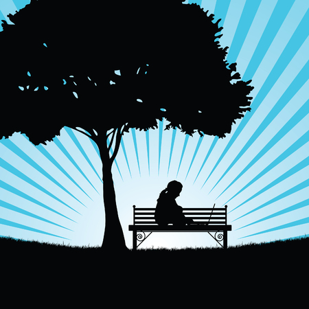 child silhouette with laptop in nature art illustration
