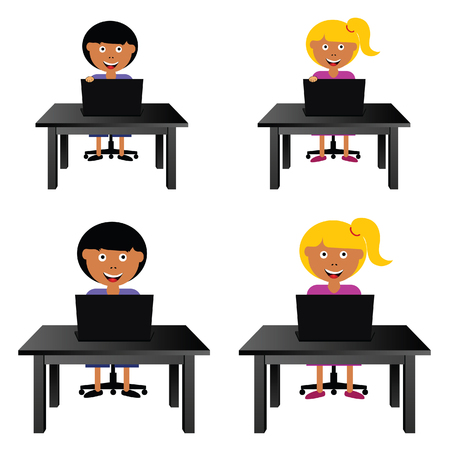 girl laptop: children sitting and holding laptop illustration in colorful