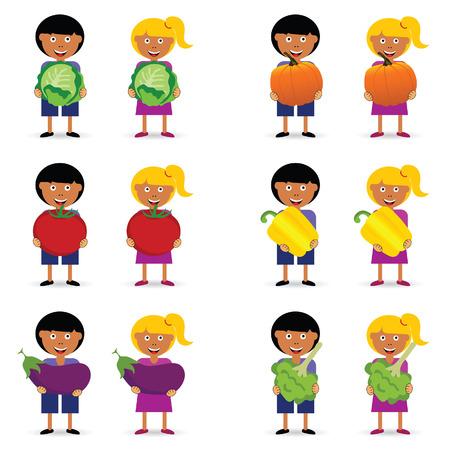 Children holding vegetable items illustration Illusztráció