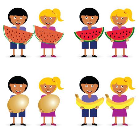 Children holding eggs and fruits set illustration