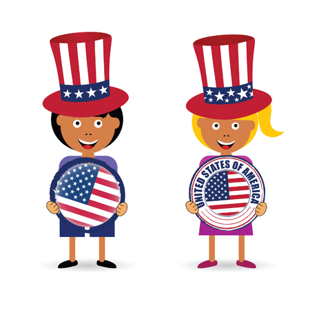 Children holding american grunge rubber illustration