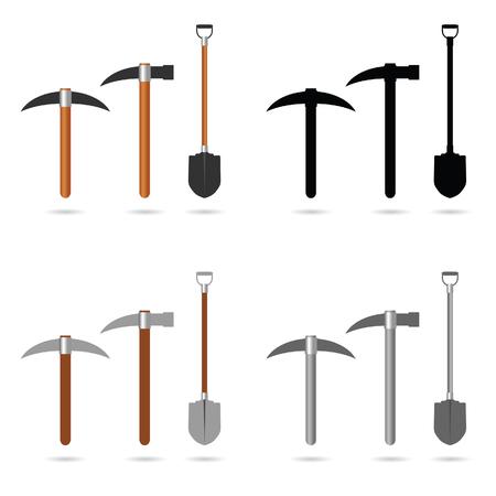 mining tool set art illustration