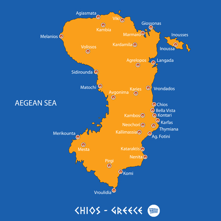 Island of  chios in Greece orange map art and blue background Иллюстрация