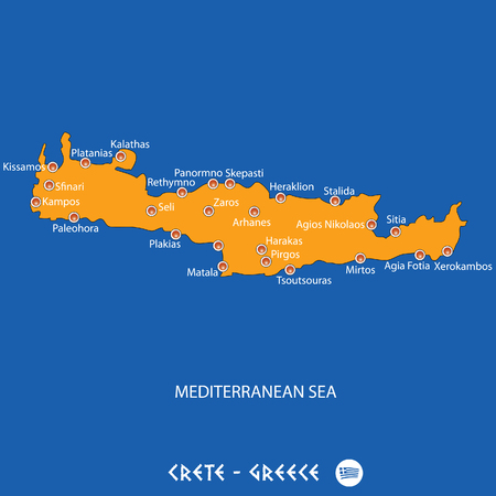 Island of  crete in Greece orange map art and blue background
