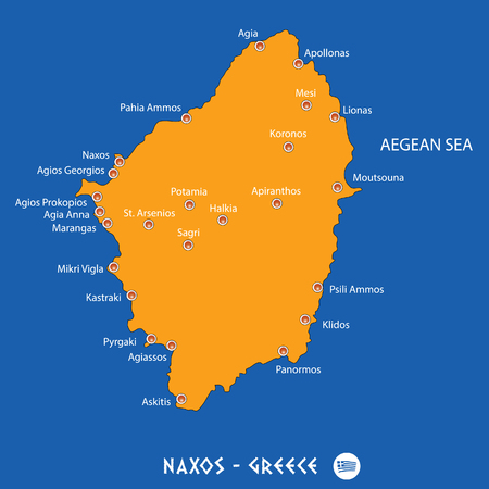 Island of naxos in Greece orange map art and blue background