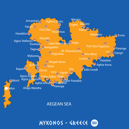 Island of mykonos in Greece orange map art and blue background