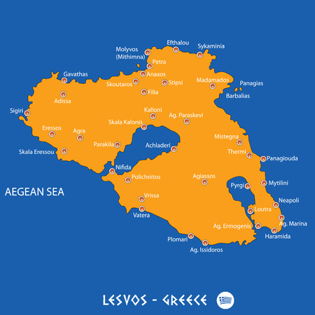 Island of  lesvos in Greece orange map art and blue background