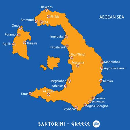 Island of santorini in Greece orange map art and blue background