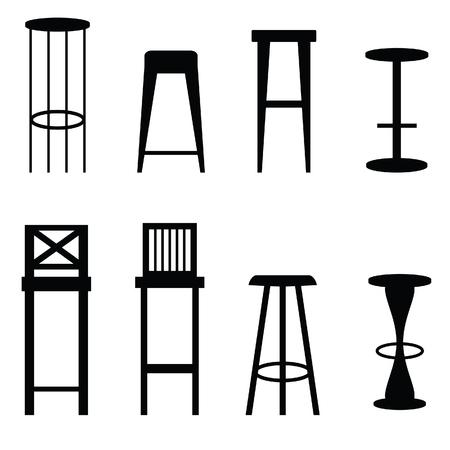 Bar stools set in black art ilustration Иллюстрация
