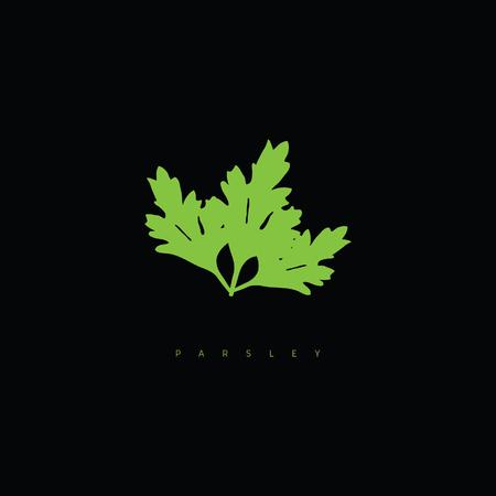 parsley green illustration on black background