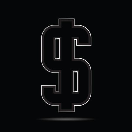 Dollar icon art design on black background vector illustration Çizim
