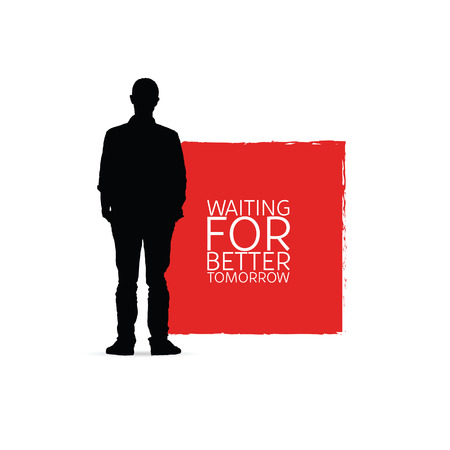 Waiting for better tomorrow with man silhouette art illustration.