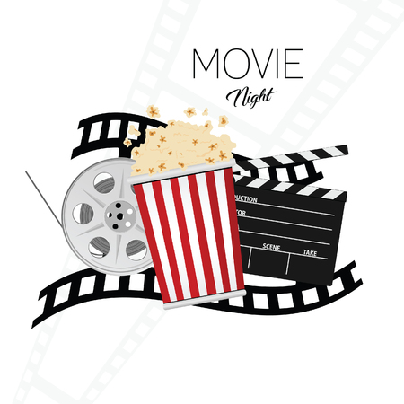 Cinema and movie night illustration Stock Illustratie