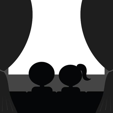 couple in cinema art illustration