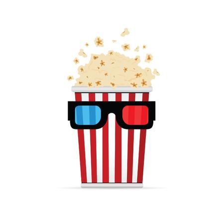 popcorn with 3D movie glasses art illustration