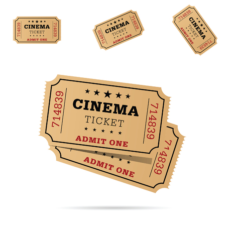 cinema ticket movie entertainment set art illustration Illustration