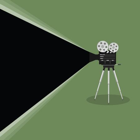camera old movie art illustration on green background
