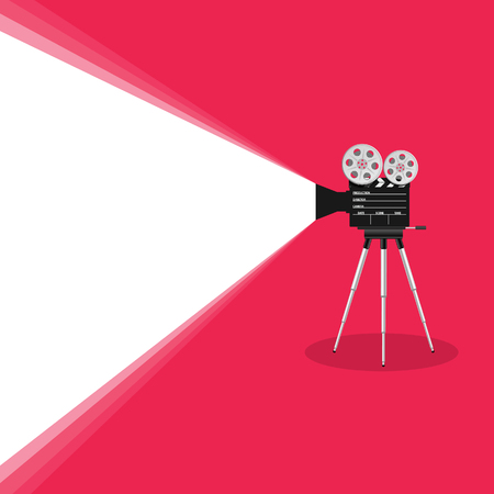 camera old movie art illustration on pink background