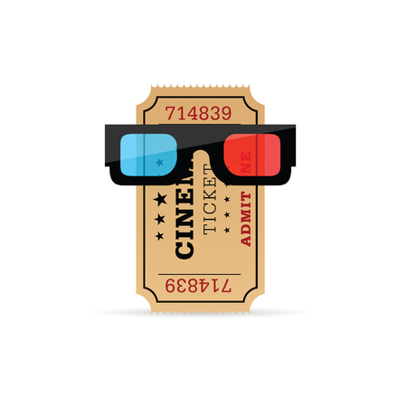 cinema ticket with 3d movie glasses illustration in colorful Illustration