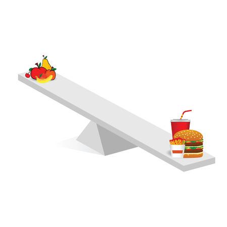fruit and fast food teeter art illustration Illustration