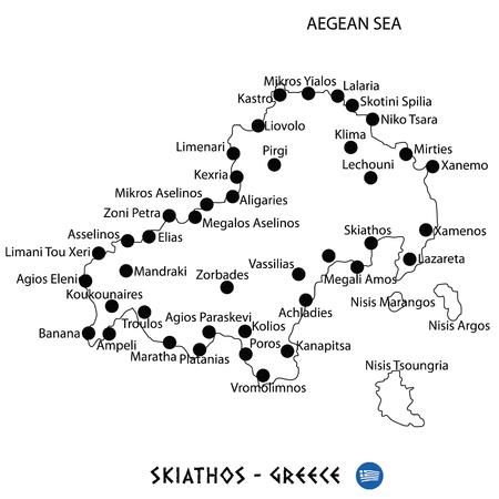 Island of Skiathos in Greece map art on white background