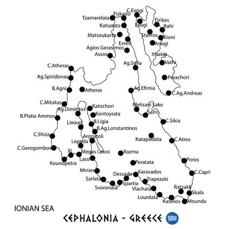 흰색 배경에 그리스지도 예술에 Cephalonia 섬 일러스트