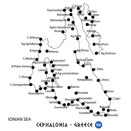 Island of Cephalonia in Greece map art on white background