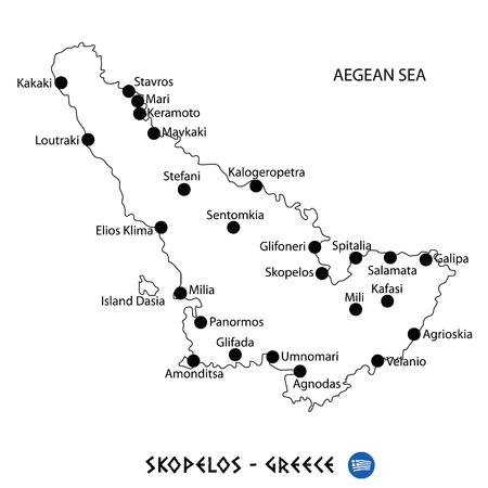 Island of Skopelos in Greece map art on white background