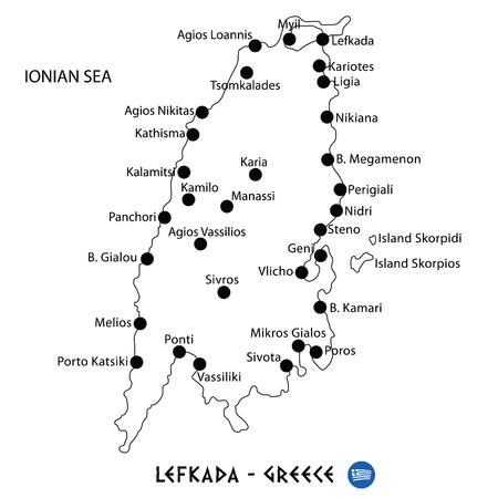 Island of Lefkada in Greece map art on white background Illustration