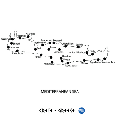 Island of Crete in Greece map art on white background